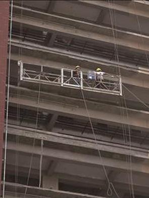 漳州2工人被困14楼高空吊篮