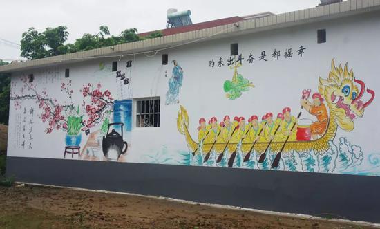 锦山宫龙舟寮外墙绘画