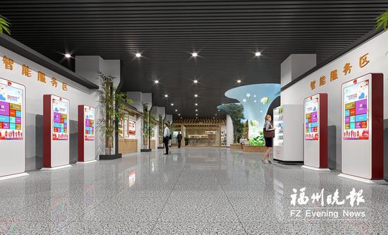 福州火车站北出站口地下一层将设立党建联盟志愿者服务驿站,占地面积达648平方米,是福州首个火车站大型服务点。目前,服务点完成规划设计,预计10月投入使用。图为服务点智能服务区效果图。