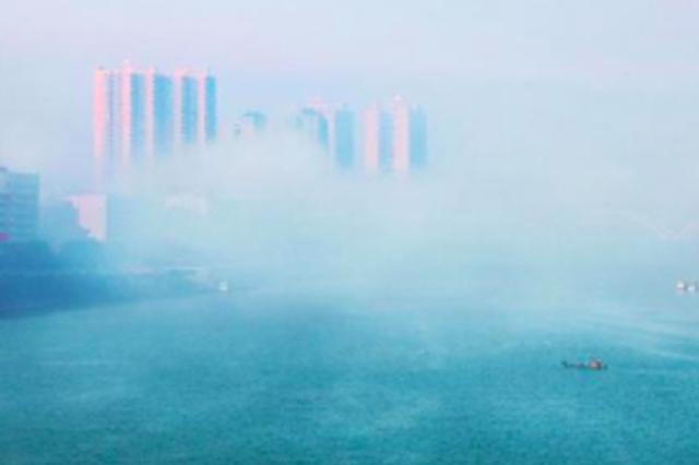 厦大附近疑现海市蜃楼 专家:应该是雾气导致