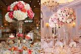 可素净也可华丽 婚宴高脚桌花装饰灵感