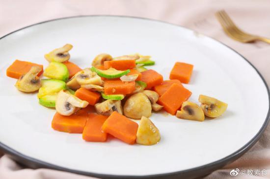 素食养生:南瓜炒口蘑(图)