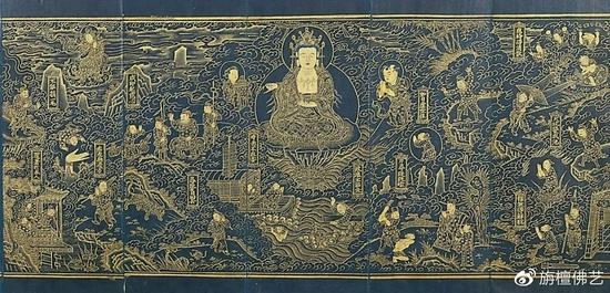 佛画,总的说来,可分为两大类:非情节性类和情节性类。(图片来源:旃檀佛艺)