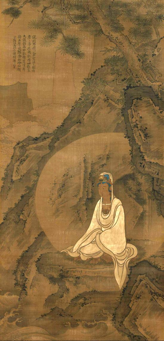 十四世纪明初佛画  灵隐寺主持慧明禅师题