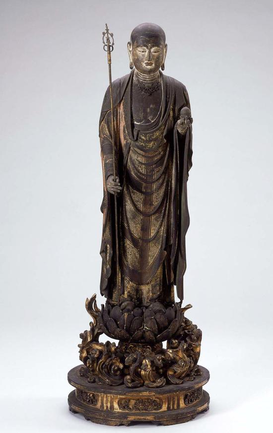 彩绘木雕:地藏菩萨来迎像