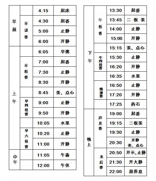 柏林禅寺丙申年冬季禅七法会作息时间表