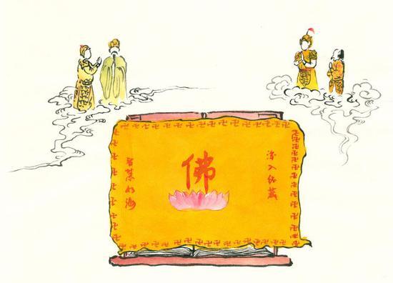 佛弟子对待佛经,就应该像对待佛菩萨一样恭敬。