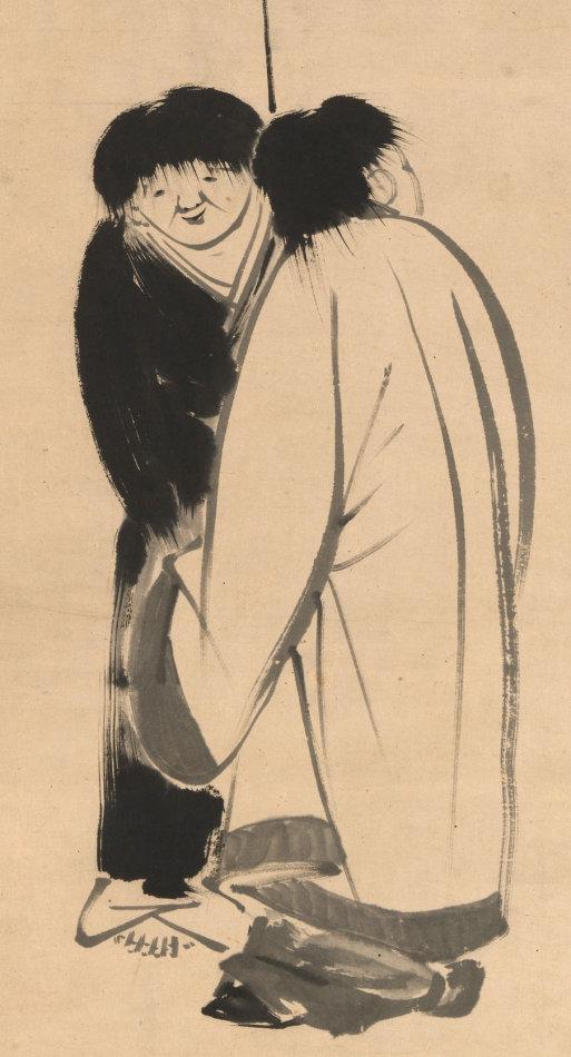 美国大都会艺术博物馆藏十八世纪禅画:伊藤若冲绘 池大雅赞 寒山拾得图