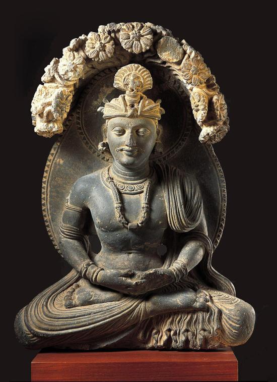三世纪犍陀罗石雕:悉达多太子阎浮树下观耕像  美国诺顿西蒙博物馆收藏