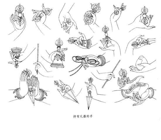 铃 杵 线描 手绘图案
