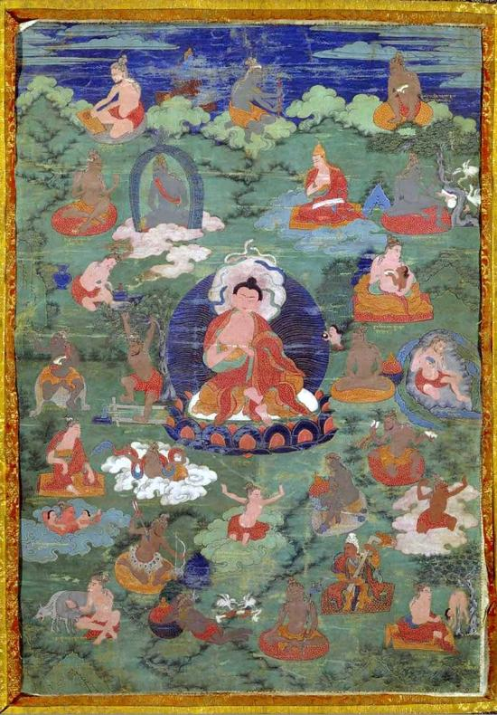 17世纪西藏,布本设色,画心纵60cm,宽42cm。清宫旧藏。