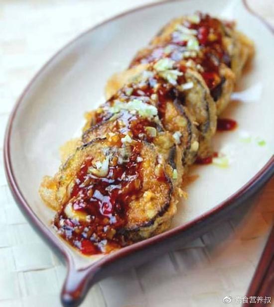 素食养生:素鱼香茄盒