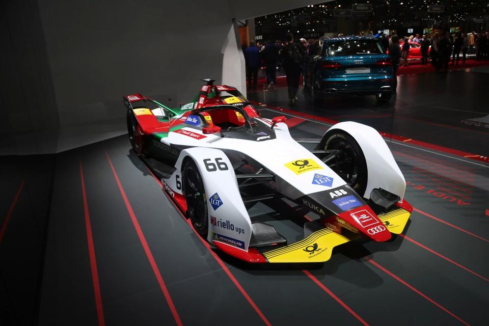 奥迪e-tron fe05纯电动方程式赛车,日内瓦车展实拍图片