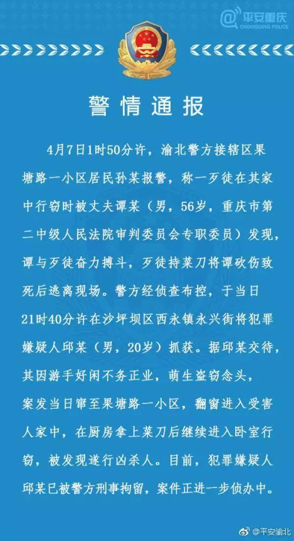 重庆市二中院原副院长遇害身亡 嫌疑人已被刑拘