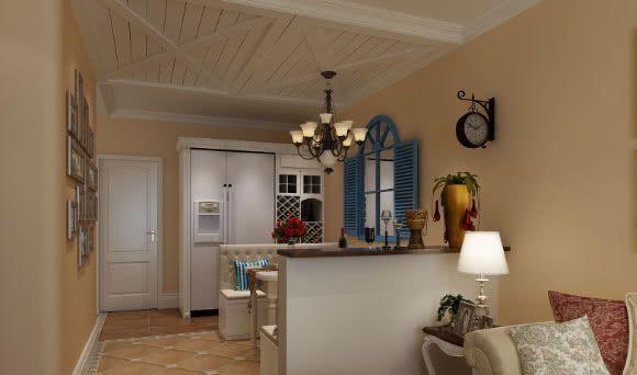简约欧式风格装修效果图 二、欧式风格与地中海风格搭配设计 更具民族特色的地中海风格和欧式风格结合后,稍显年代感的家居空间深受复古一族的喜好与推崇。圆形门洞造型设计,局部蓝色的点缀,再搭配欧式的沙发,仿古地面瓷砖,极具家居氛围的空间让人倍感温馨,显得格外亲切。