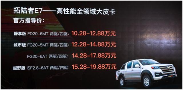 打造中高端皮卡,福田拓陆者E7售10.28-19.88万元