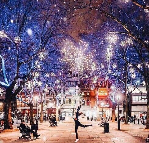 俄罗斯的雪中夜景 好梦幻