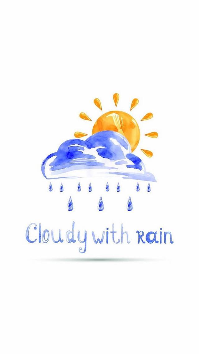 手机壁纸|手绘天气插画简约小清新创意