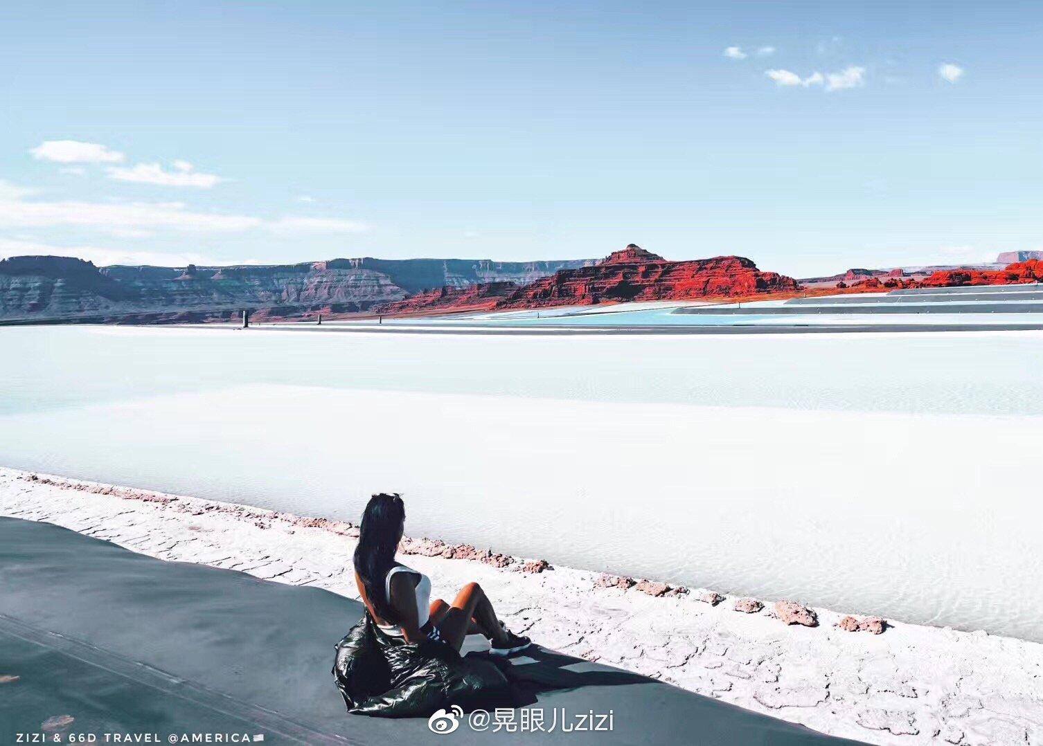 在犹他发现一个蓝色粉色的盐湖美爆炸啦