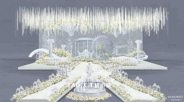dodowed婚礼手绘推荐之桃小桃婚礼设计手绘步骤图《云端之上》