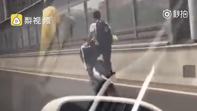 """长沙一男子高架上演""""杂技"""" 站骑电动抬前轮"""