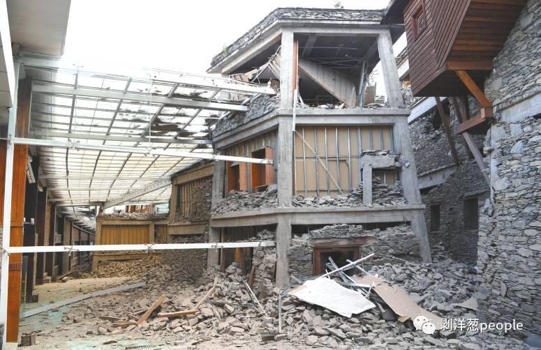 地震中受损的九寨天堂洲际酒店。