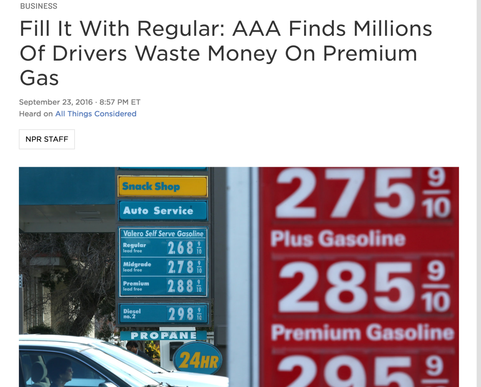 ▲AAA测试表明,多数人在高标号汽油上花了冤枉钱,美国媒体对测试结果进行了广泛报道