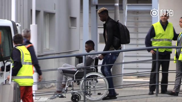 登贝莱坐轮椅飞往芬兰手术
