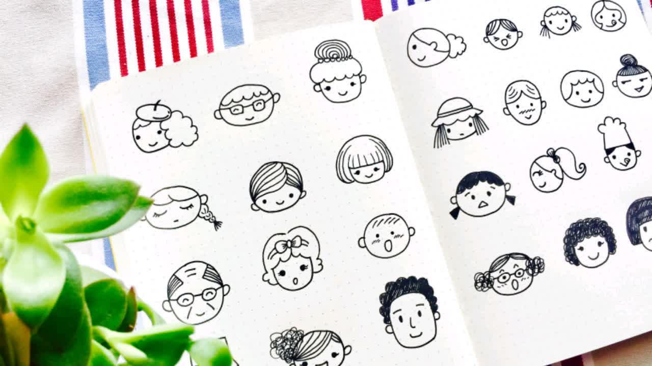 8種人物頭像簡筆畫 】哄娃和手帳必備喲~ 手繪