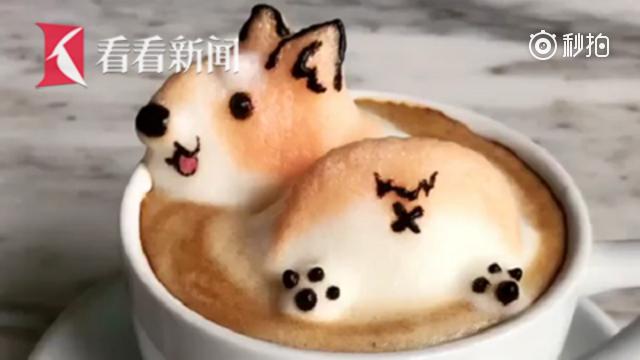 不忍下口!新加坡女高中生3D咖啡拉花精致可爱堪称艺术品
