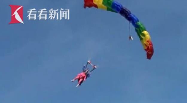美国94岁老奶奶高空跳伞庆生 称想尖叫还想再跳