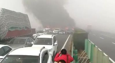 Four vehicles catch fire on E China highway
