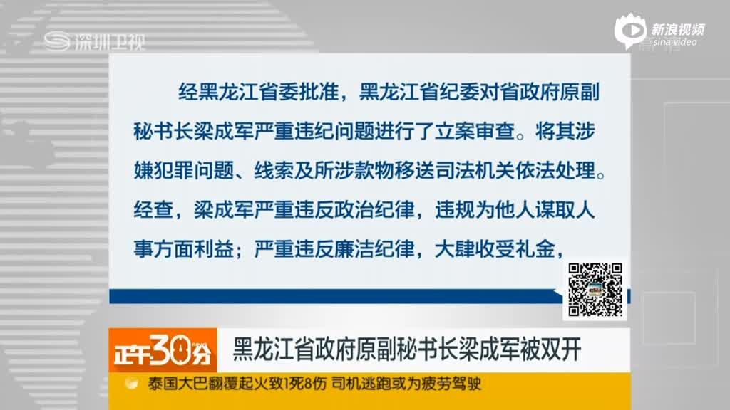 黑龙江省政府原副秘书长梁成军被双开