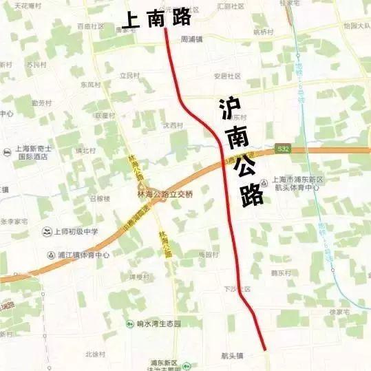 沪南公路(上南路-闸航公路)将大修 新建跨河桥梁8座