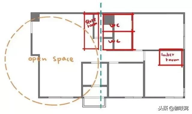 开放式的厨房的要求 设计师将厨房墙面拆除 打开整个生活区 ▲平面图