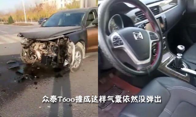 2017年某地众泰T600碰撞事故现场 气囊未见弹开 由于我国目前还没有安全气囊的统一标准,什么条件下安全气囊必须打开无从限定,每个厂家的标准都不一样,不过通常意义上,从理论上讲只有车辆的正前方左右大约60之间位置撞击在固定的物体上,速度高于30KM/h,这时安全气囊才可能打开。也就是说安全气囊打开需要合适的速度和碰撞角度。这也往往是车辆发生严重碰撞事故后,针对气囊未弹开,没有尽到保护车内成员安全时,各4S店的专业话术。不管怎么说,这起众泰T600高速撞击事故满足了撞击角度和速度的要求,但结果就是不弹出
