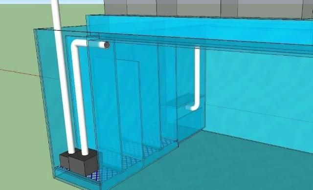 带沉淀池的鱼缸设计图,集成了侧滤和滴流上滤!