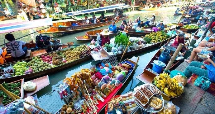 泰国曼谷的水上市场,想去逛一次这样的天堂