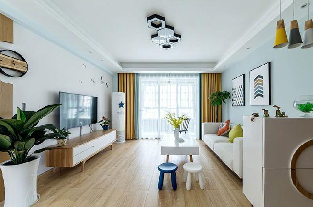 110平北欧风效果图 敞亮的设计, 电视墙刷大白墙 大白 墙漆 儿童房 新浪网