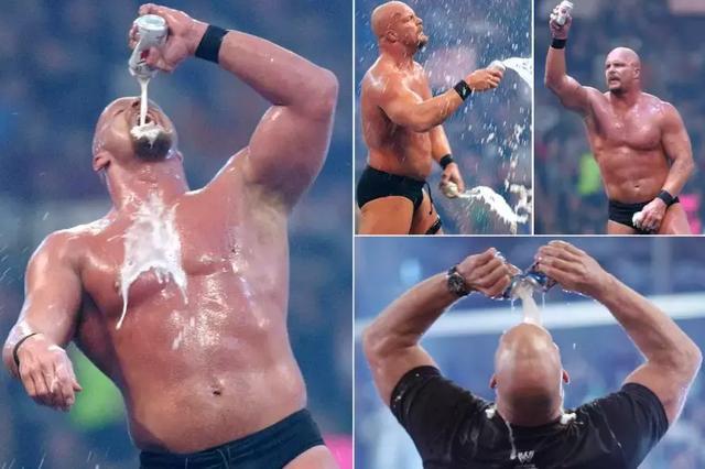 看过wwe的人应该都知道,在擂台上喝啤酒,那是冷石奥斯汀的标志性动作