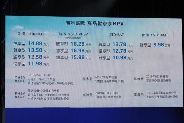 9.98万起,吉利首款MPV嘉际上市!