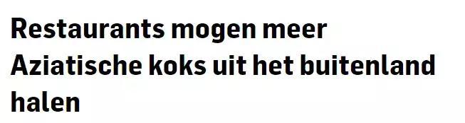 号外!荷兰餐馆需要更多亚洲厨师,签证配额增多、外加延期