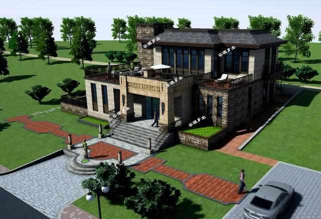 二层新中式带地下室及下沉庭院独栋别墅设计