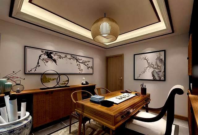 一大波艺术客房效果图来袭,学习工作,书柜,练字房科技书房城市感设计图图片