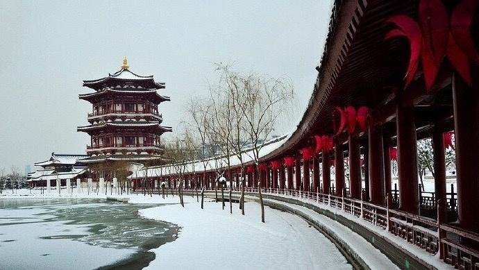 大雪后的西安 美似仙境