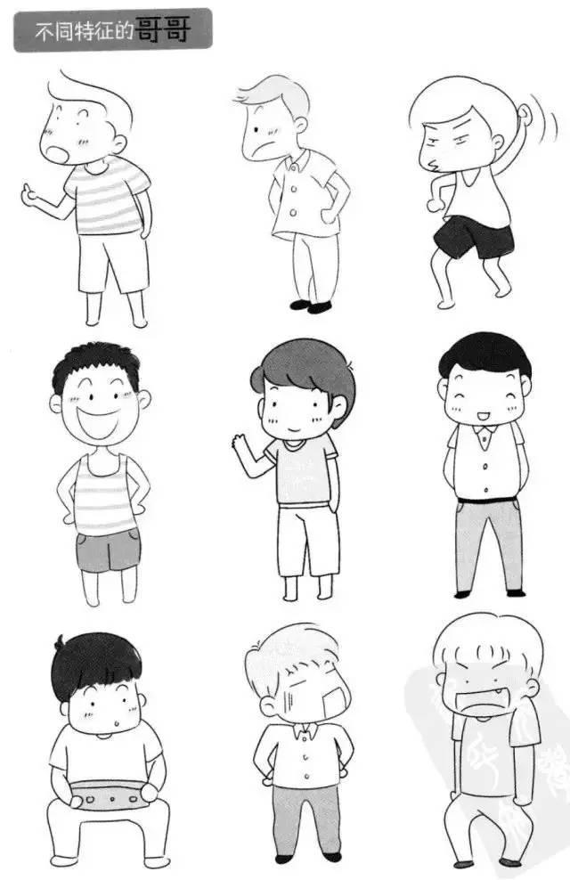 儿童简笔画 家庭成员形象画法,教孩子辨识不同人物特征