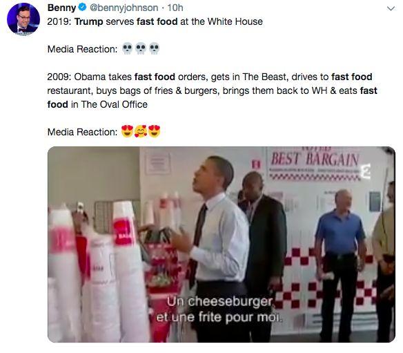 特朗普用1000个汉堡招待来客 美媒竟解读出这么大信息量