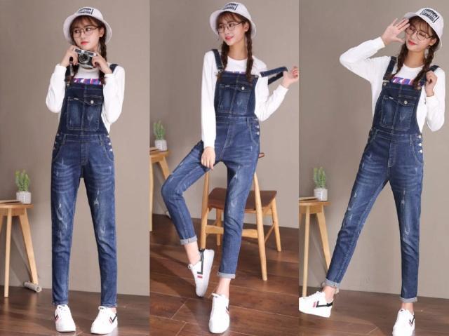 韩版减龄吊带裤+长袖t恤,好看极了!