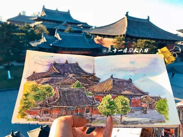 98年女生手绘山西,地标建筑纷纷变身水彩画!张张