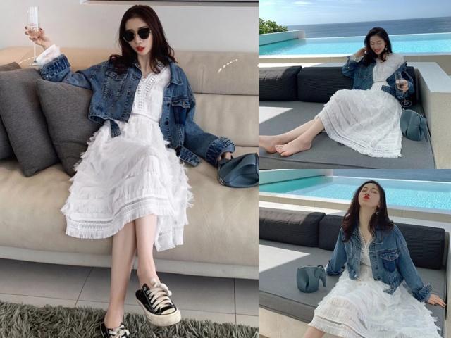短牛仔外套+裙子,帅气又时尚!